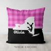 Personalized Hometown Charm Black with Pink Cheerleading Throw Pillow - Golly Girls