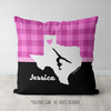 Personalized Hometown Charm Black with Pink Gymnastics Throw Pillow - Golly Girls