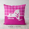 Personalized Hometown Charm Pink Cheerleading Throw Pillow