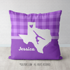 Personalized Hometown Charm Purple Gymnastics Throw Pillow - Golly Girls