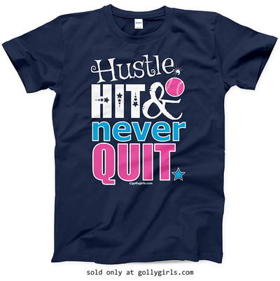 Golly Girls: Hustle Hit Never Quit Softball T-Shirt (Youth & Adult Sizes)