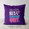 Hustle Hit Never Quit Softball Purple Throw Pillow - Golly Girls