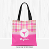 Personalized Sweet Peach Plaid Martial Arts Tote Bag
