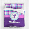 Golly Girls: Personalized Martial Arts Purple Plaid Queen Comforter Set + Pillow