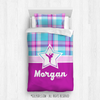 Golly Girls: Bubblegum Plaid Martial Arts Personalized Comforter Or Set