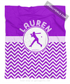 Golly Girls: Personalized Simple Purple Chevron Softball Fleece Blanket