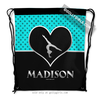 Golly Girls: Personalized Turquoise Doodle-Dots Gymnastics Drawstring Backpack