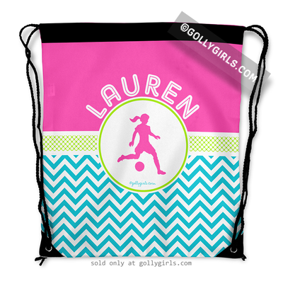 Golly Girls: Personalized Multi-Color Chevron Soccer Drawstring Backpack