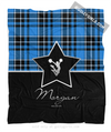 Golly Girls: Personalized Blue Plaid and Silver Star Cheerleading Fleece Throw Blanket