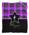 Golly Girls: Personalized Purple Plaid and Silver Star Dance Fleece Throw Blanket