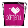 Golly Girls: I Hashtag Heart Softball - Pink Drawstring Backpack