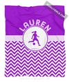 Golly Girls: Personalized Simple Purple Chevron Soccer Fleece Throw Blanket