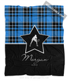 Golly Girls: Personalized Blue Plaid and Silver Star Tennis Fleece Blanket