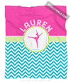 Golly Girls: Personalized Multi-Colored Chevron Dance Fleece Throw Blanket