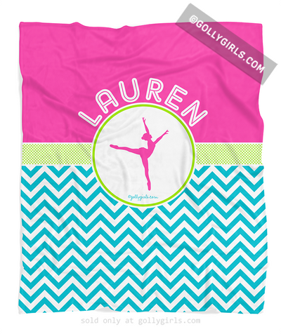Golly Girls: Personalized Multi-Colored Chevron Dance Fleece Blanket