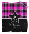 Golly Girls: Personalized Pink Plaid and Silver Star Soccer Fleece Throw Blanket