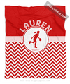Golly Girls: Personalized Simple Red Chevron Basketball Fleece Throw Blanket