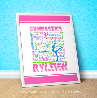 "Golly Girls: Personalized Pastel Gymnastics Typography 16"" x 20"" Poster"