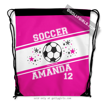 Golly Girls: Personalized Pink Soccer Jersey Style Name Plus Number Drawstring Backpack