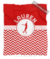 Golly Girls: Personalized Simple Red Chevron Figure Skating Fleece Throw Blanket
