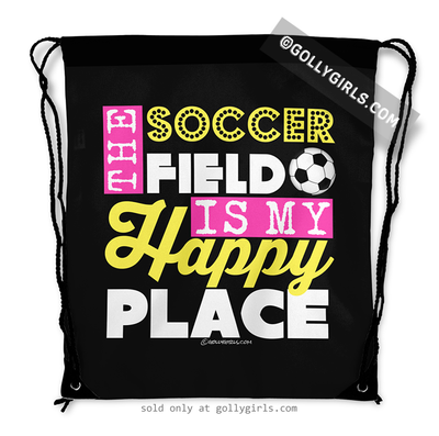 Golly Girls: The Soccer Field Is My Happy Place Drawstring Backpack