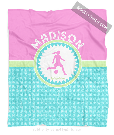 Golly Girls: Personalized Tri-Pastel Tile Soccer Fleece Blanket