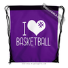 Golly Girls: I Hashtag Heart Basketball - Purple Drawstring Backpack