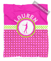 Golly Girls: Personalized Pink and Green Polka-Dots Figure Skating Fleece Blanket