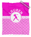 Golly Girls: Personalized Simple Pink Chevron Softball Fleece Blanket