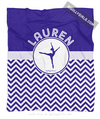 Golly Girls: Personalized Simple Blue Chevron Dance Fleece Throw Blanket
