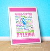 "Golly Girls: Personalized Pastel Figure Skating Typography 16"" x 20"" Poster"