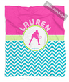 Golly Girls: Personalized Multi-Colored Chevron Tennis Fleece Throw Blanket