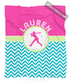Golly Girls: Personalized Multi-Colored Chevron Softball Fleece Throw Blanket