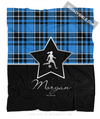 Golly Girls: Personalized Blue Plaid and Silver Star Soccer Fleece Throw Blanket