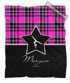 Golly Girls: Personalized Pink Plaid and Silver Star Gymnastics Fleece Throw Blanket