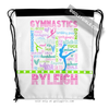 Golly Girls: Personalized Pastel Gymnastics Typography Drawstring Backpack