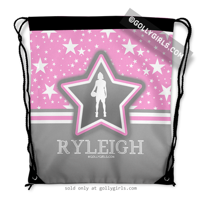 Golly Girls: Personalized Basketball Among The Stars Drawstring Backpack