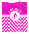 Golly Girls: Personalized Simple Pink Chevron Basketball Fleece Throw Blanket