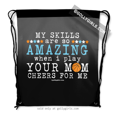 Golly Girls: Your Mom Cheers For Me Basketball Drawstring Backpack in Black Ombre