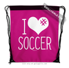 Golly Girls: I Hashtag Heart Soccer - Pink Drawstring Backpack