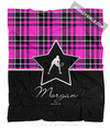 Golly Girls: Personalized Pink Plaid and Silver Star Tennis Fleece Throw Blanket