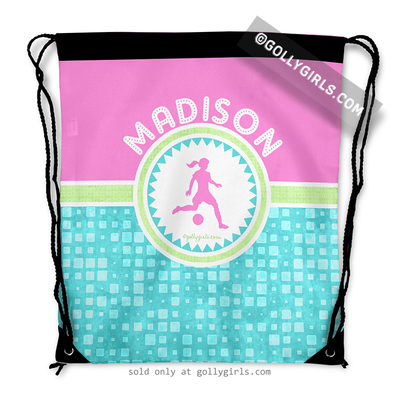 Golly Girls: Personalized Tri-Pastel Tile Soccer Drawstring Backpack
