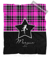 Golly Girls: Personalized Pink Plaid and Silver Star Basketball Fleece Throw Blanket