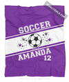 Golly Girls: Personalized Purple Jersey Style Name Plus Number Soccer Fleece Throw Blanket