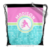 Golly Girls: Personalized Tri-Pastel Tile Softball Drawstring Backpack