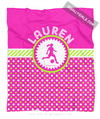 Golly Girls: Personalized Pink and Green Polka-Dots Soccer Fleece Throw Blanket