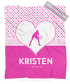 Golly Girls: Personalized Cute Simple Pink Polka-Dots Tennis Fleece Blanket