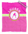 Golly Girls: Personalized Pink and Green Polka-Dots Tennis Fleece Throw Blanket