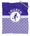 Golly Girls: Personalized Simple Blue Chevron Basketball Fleece Throw Blanket