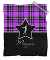 Golly Girls: Personalized Purple Plaid and Silver Star Figure Skating Fleece Throw Blanket